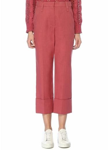Brunello Cucinelli 101489031 Yüksek Bel Paçası Katlı Koyu Kadın Keten Pantolon Pembe